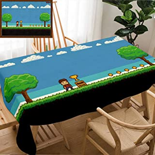 Unique Custom Design Cotton and Linen Blend Tablecloth Pixel Art Game Scene with Ground Grass Trees Sky Clouds Character Coins Treasure Chests AndTablecovers for Rectangle Tables, 70