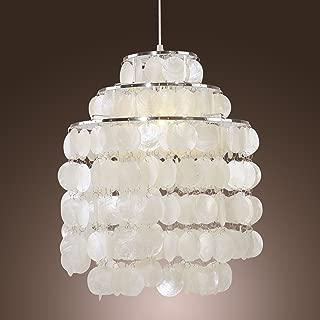 LightInTheBox Modern White Shell Pendant Chandelier Mini Style Ceiling Light Fixture for Bedroom, Living Room, Bulb Not Included (Chrome Finish)