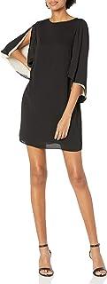 فستان نسائي قصير من HALSTON HERITAGE بأكمام مرفرفة ورقبة واسعة
