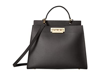 ZAC Zac Posen Earthette Double Compartment Satchel Solid (Black) Satchel Handbags