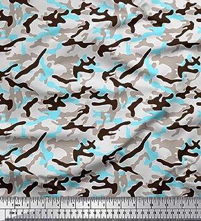 da4953c4aabc Soimoi Marrón Jersey de algodon Tela dos tonos con blanco camuflaje tela  estampada de 1 metro