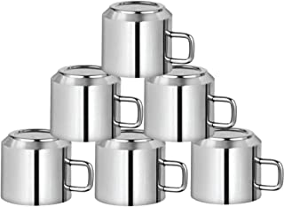 Meqstore Stainless Steel Double Walled Tea / Coffee Cup / Mirror Finish Coffee / Tea Cup - 6 Pieces, Silver, 125 ml