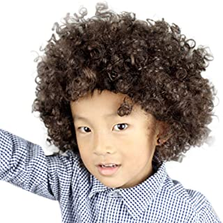 Dumanfs Party Disco Funny Afro Clown Hair Wigs, Football Fan-Kids Afro Masquerade Full Hair Wig Cosplay Party Wig