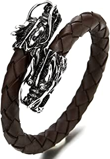 Elastic Adjustable Mens Brown Braided Leather Wrap Bracelet Wristband with Stainless Steel Dragons