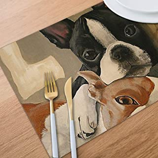 Bghnifs Boston Terrier Placemats Table Mats Set of 6 Washable Non Slip Heat Insulation Place Mats Dining Room Kitchen Decor 12 X 18