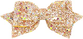ZOONAI 5 Inch Baby Girl Glitter Hair Bows Boutique Hair Clip Teens Toddlers Glitter Sequins Hairpin Headwear