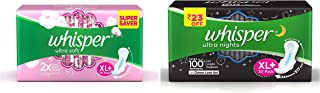 Whisper Ultra Soft Sanitary Pads - 30 Pieces (XL Plus) & Ultra Overnight Sanitary Pads with Wings - 30 Pieces (XL Plus) Combo