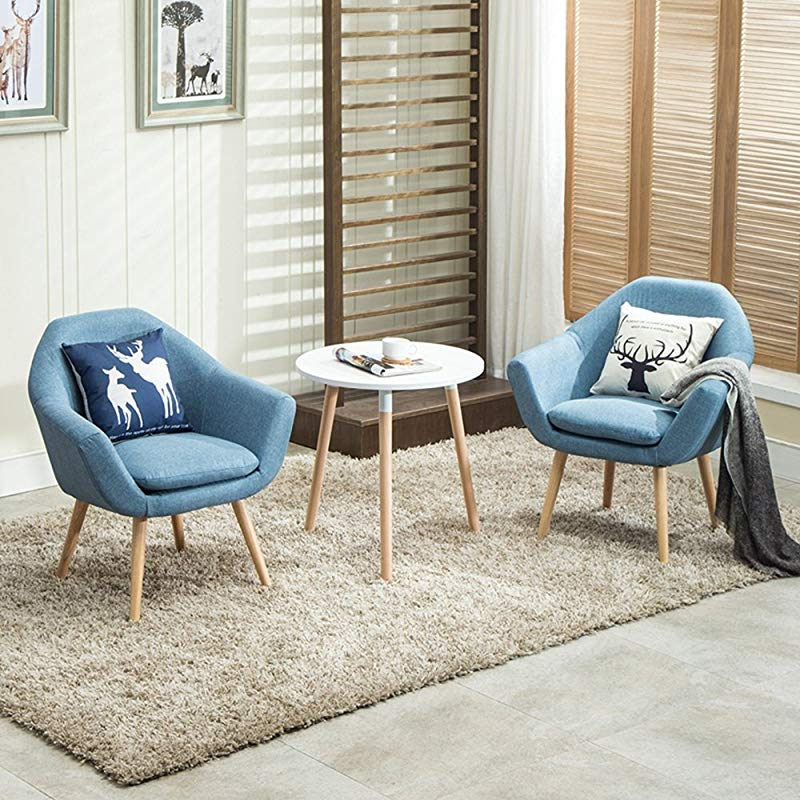 Magshion 2 Pcs Elegant Upholstered Fabric Club Chair Accent Chair W 2 Free Pillows Blue