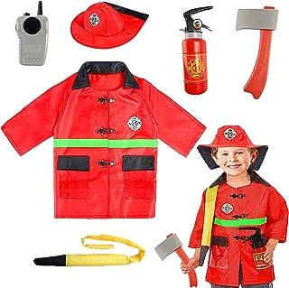 SATKULL Kids Fire Chief Costume, Halloween Fireman Dress Up Set