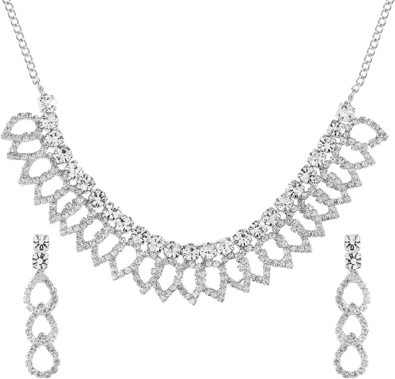 Efulgenz Fashion Crystal Rhinestone Austrian Diamond Bridal Wedding Choker Necklace Earrings Jewelry Set