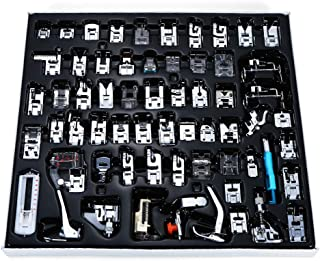 Presser Foot Set 62 PCS, Professional Domestic Sewing Machine Presser Feet Set Hem Foot Spare Parts Accessories Multi-Functional Kit for Singer, Brother, Feiyue, Janome, Kenmore, Babylock (62 PCS)