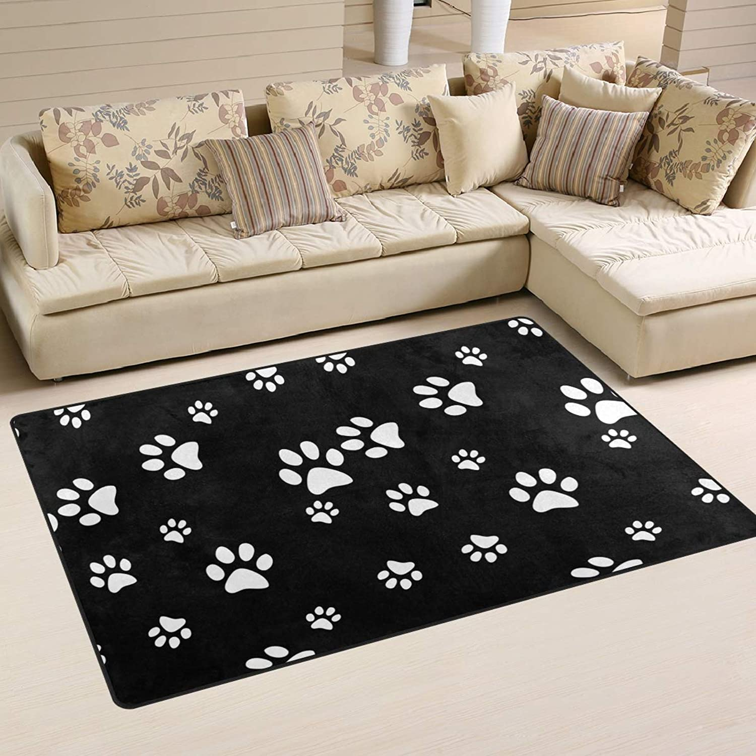 Area Rugs Doormats Cut Animal Dog Puddy Paw Paint 5'x3'3 (60x39 Inches) Non-Slip Floor Mat Soft Carpet for Living Dining Bedroom Home