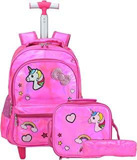 Girls Rolling Backpack,Trolley School Bag Water Resistant Cute Unicorn Travel Luggage with Wheels Lunch Bag and Pencil Case for Kids and Students (Rose)