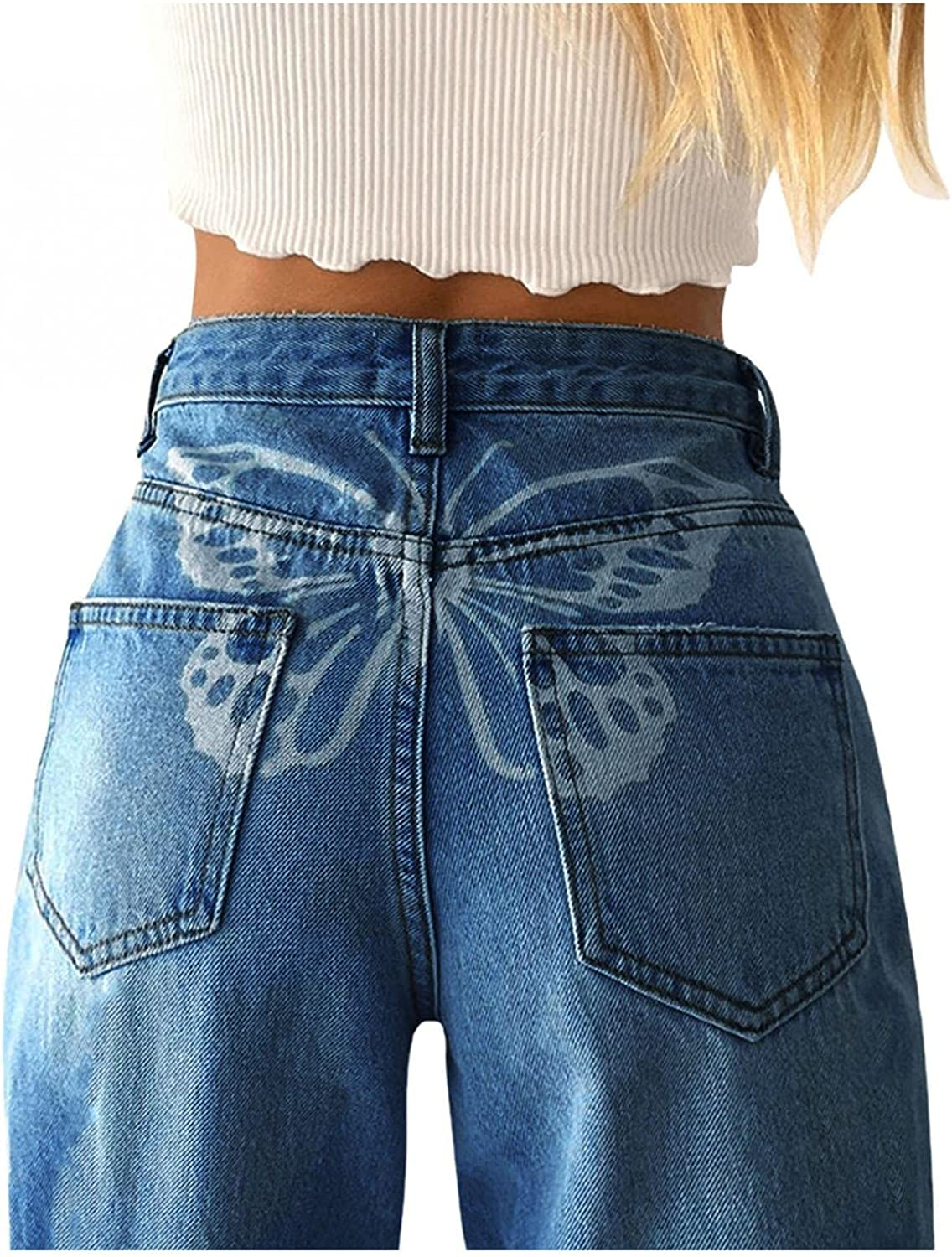 Lingbing Y2K Fashion Jeans, Women High Waist Wide Leg Vintage Butterfly Pants Loose Casual Baggy Trousers Ripped Pants