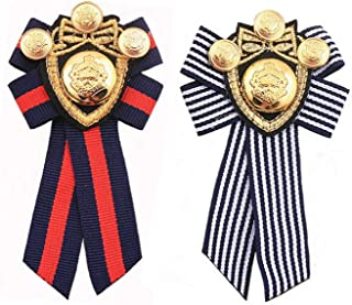 PPX 2 Pcs Pre-Tied Bowknot Brooch Fabric Bow Tie Nautical Themed Men Women British School Girls Badge Pin Clip
