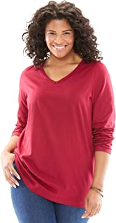 Women's Plus Size Perfect V-Neck Long Sleeve Tee