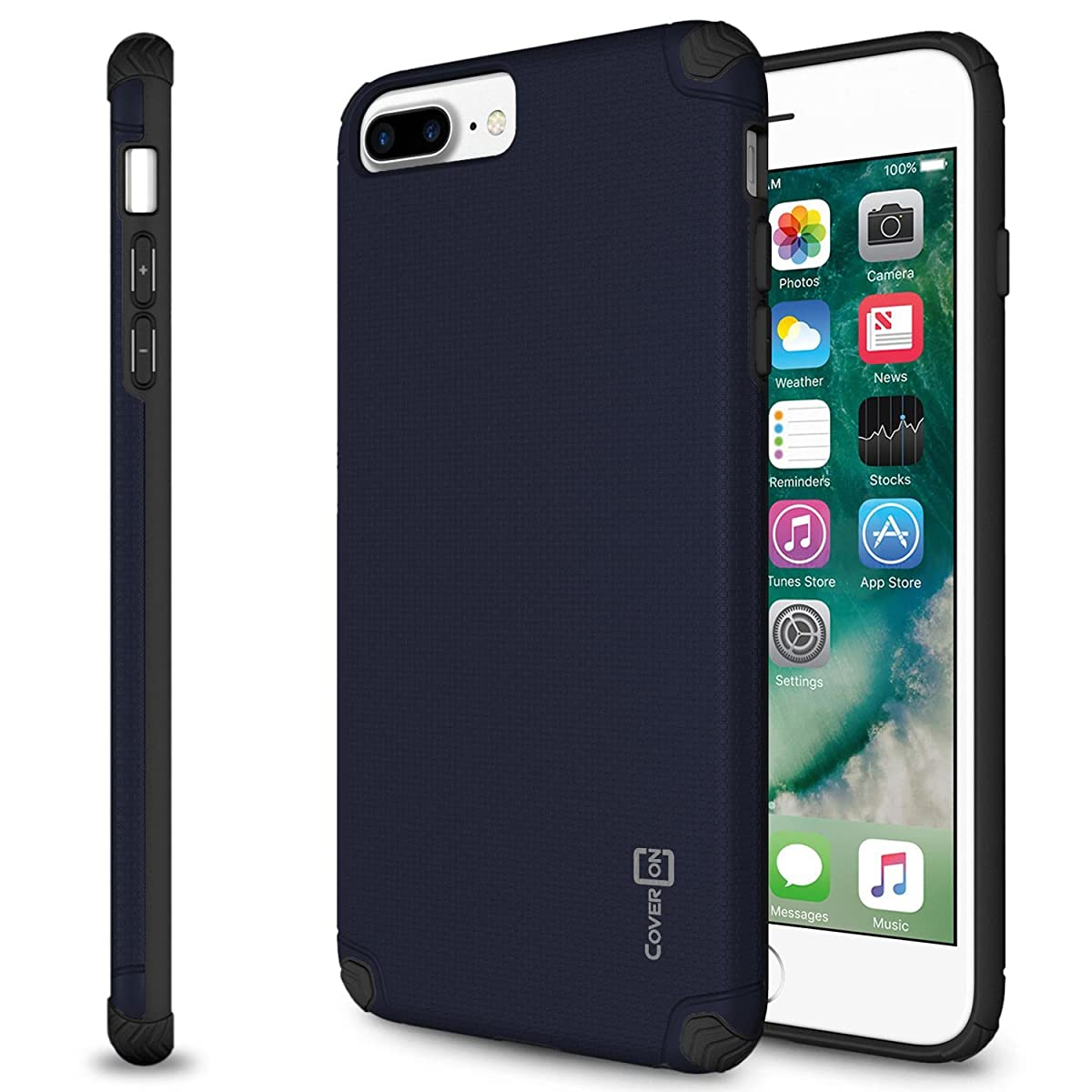 CoverON Bios Series Fit iPhone 8 Plus Slim Case, iPhone 7 Plus Slim Case, Minimalist Thin Protective Hard Phone Cover with Embedded Metal Plate for Magnetic Car Mounts - Navy Blue