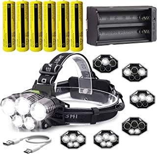 LED Rechargeable 12000 Lumens 18650 Headlamp Flashlight,Kit with 6PCS 3.7V 1500mAh Rechargeable Battery + Batteries Charger For Camping,Hiking, Outdoors