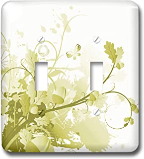 2 Gang Wall Plate Cover Decorator Wall Switch Light Plate Double Toggle Switch Llcpretty Olive Green Leaves Flourish Class...