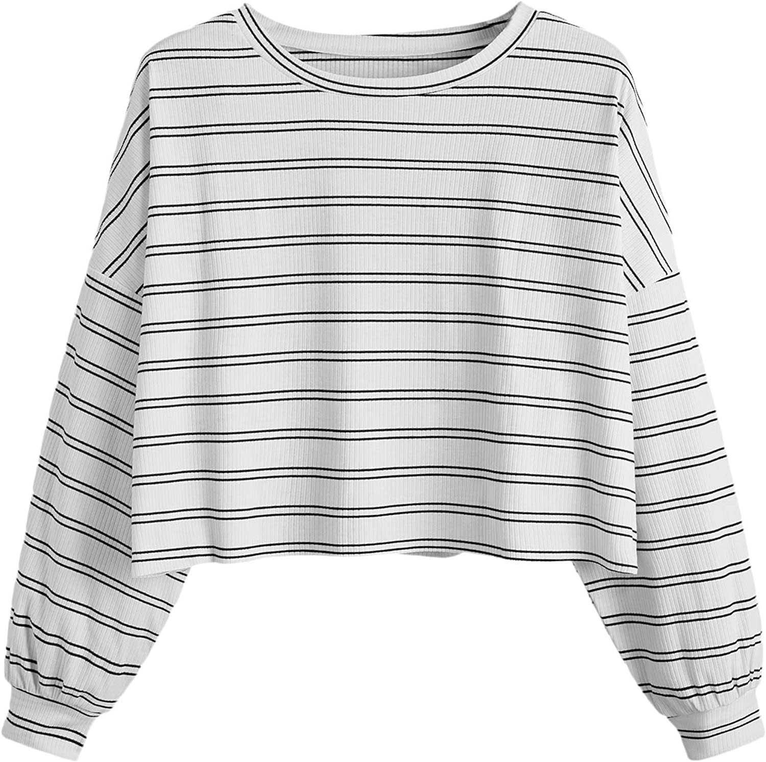 Floerns Women's Plus Size Long Sleeve Striped Oversize Pullovers Crop Top Tee