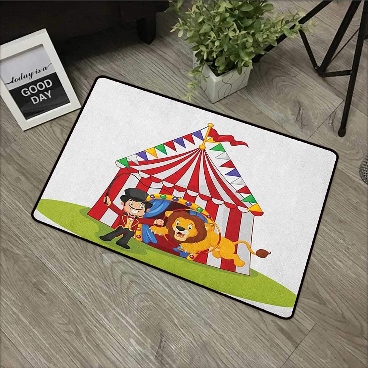Meeting Room mat W35 x L59 INCH Circus,Cartoon Lion Jumping Through The Ring with Circus Tent Celebration Performance Show, Multicolor Non-Slip Door Mat Carpet
