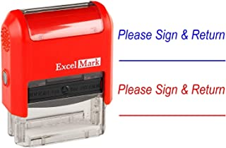 Please Sign & Return - ExcelMark Self-Inking Two-Color Rubber Teacher Stamp - Perfect for Grading Homework - Red and Blue Ink