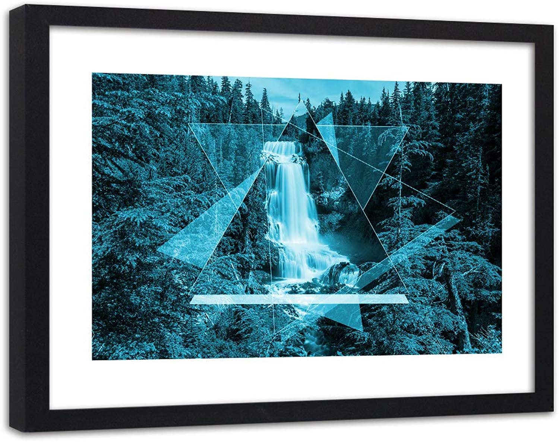 Envío 100% gratuito Feeby Imagen en Marco Negro Geométrico Geométrico Geométrico Impresión Arte Cascada Bosque Azúl 90x60 cm  envío gratuito a nivel mundial