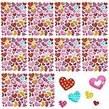 Oblique Unique 520 pegatinas brillantes de corazón multicolor con diferentes patrones I superficie brillante I Scrapbooking decoración manualidades