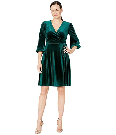 Tahari by ASL Side Wrap Long Sleeve Velvet Dress (Hunter Green) Women