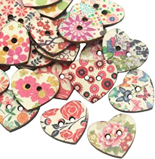 AKOAK 50 Pack 25MM 2-Hole Mixed Flower Pattern Printed Wooden Peach Heart Shaped Buttons Wood Sewing Buttons DIY Scrapbooking Clothe Buttons
