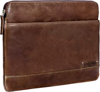 """STILORD """"Robb"""" Vintage Leder Laptoptasche für 13,3 Zoll MacBooks MacBooktasche Universal Tablettasche bis 14 Zoll DIN A4 echtes Rindsleder, Farbe:Mocca - Dunkelbraun"""