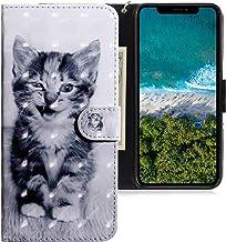 CLM-Tech Funda Compatible con Apple iPhone 11 Pro (5.8 Pulgada), Carcasa Cuero sintético con Soporte y Ranuras para Tarjetas, Gato Negro Blanco