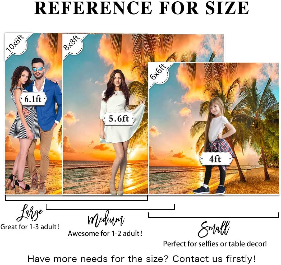 Allenjoy Summer Tropical Seaside Backdrop for Photography Palm Trees Hawaiian Sunset Scenery Background Kids Portrait Photoshoot Props Baby Shower Birthday Party Banner 8x8ft Cake Table Decoration