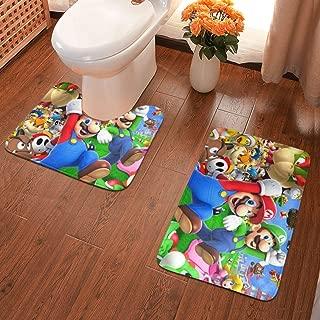 Super Mario Bathroom Rug Mats Set 2 Piece,Anti-Skid Pads Bath Mat Contour Christmas