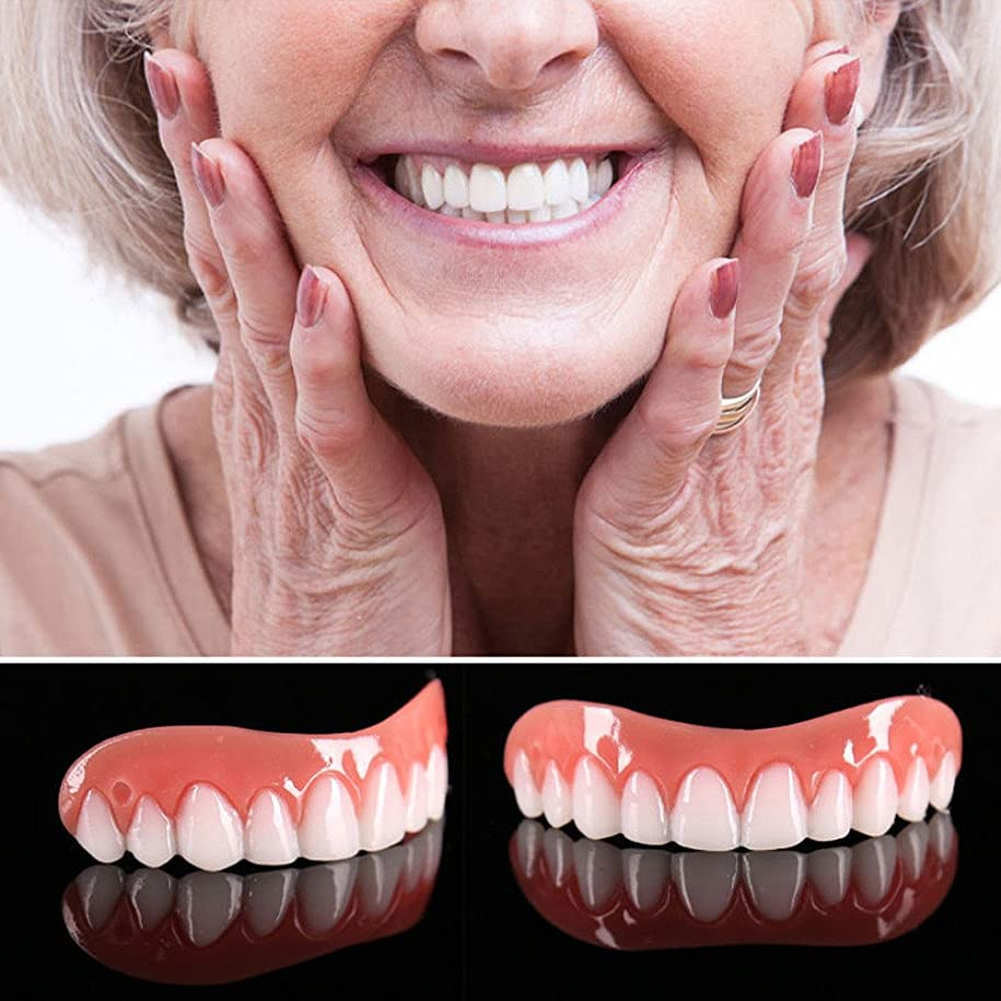 合金桃月面5個偽の歯突き板フィットトップ歯の化粧突き板ワンサイズフィットすべての義歯接着剤歯偽の歯笑顔