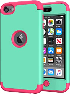 iPod Touch 7th Generation Case for Girls, iPod Touch 6 Case, SLMY(TM) Heavy Duty Full-Body Protective Case with Dual Layer Hard PC+ Soft Silicone for Apple iPod Touch 5/6/7th Generation Mint/Rose Red