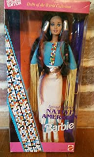 Special Edition Barbie 1993 Dolls of the World 12 Inch Doll Collection - Second Edition Native American Barbie Doll with Native American Dress, Boots, Ring, Earrings, Brush and Doll Stand