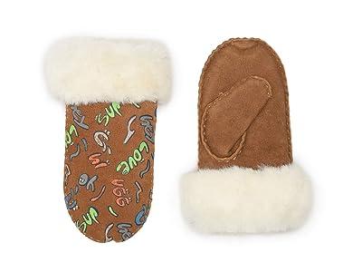UGG Kids Suede Mitten with Sherpa Lining (Toddler/Little Kids) (Chestnut Graffiti) Over-Mits Gloves