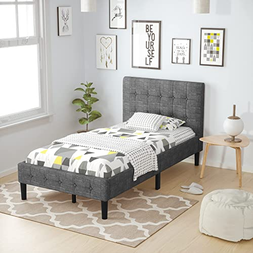 2021 Giantex Upholstered Bed Frame, Platform Bed with Button Tufted Headboard, Wood Slats Support Mattress Foundation, Sponge 2021 Stuffed Backrest Bed outlet sale Base, Twin, Grey outlet sale