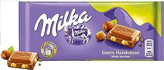 Milka Whole Haselnuts Chocolate Bar Candy Original German Chocolate 100g/3.52oz