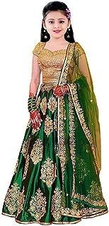 F Plus Fashion Banglori Satin Semi-Stitched Lehenga Choli (Pink&Orange, 8-13 Years, Free Size)