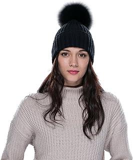 18966c01894ba URSFUR Bonnet/Chapeau Tricot Pompon Fourrure De Renard Femme Hiver