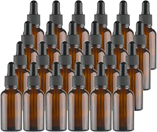 Kingrol 24 Pack Amber Glass Bottles with Glass Eye Dropper, 1 oz Dropper Bottles for Essential Oils, Perfumes, Aromatherapy, Chemistry Lab Chemicals