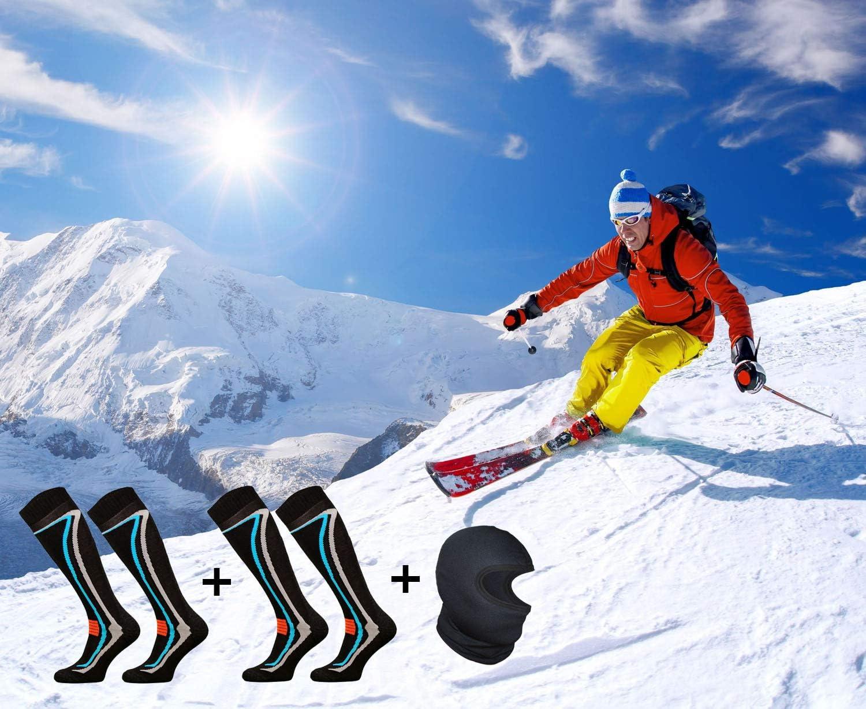 Cagoule Ski Thermique TODO 2 Paires dans Un Ensemble Chaussettes Thermiques Chaudes Chaussettes de Ski Homme Femme 50/% Laine M/érinos