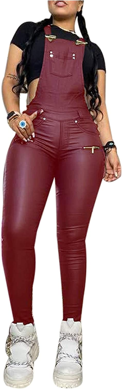 Voghtic Womens Sexy Faux 返品交換不可 Leather Adjus Jumpsuit 全国一律送料無料 One Piece Romper