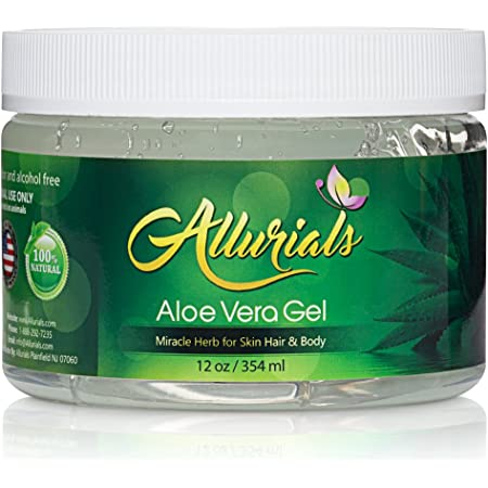 All Natural Aloe Vera Gel, Clinically tested & Dermatologist approved 100% pure Organic Gel, Hydrates & Heals Dry, Itchy & Damaged Skin & Hair| Acne, Sunburn & Dandruff Relief- 12 Oz - by Allurials