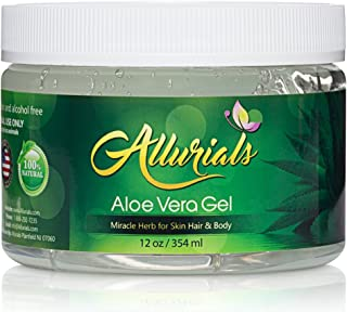 All Natural Aloe Vera Gel - 100% Pure & Organic Aloe Vera Gel Moisturizer - Hydrates & Heals Dry, Itchy & Damaged Skin & Hair - Acne, Sunburn, Rash & Dandruff Relief - 12 Oz - by Allurials