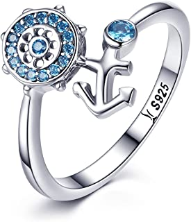 Sterling Silver Rings for Women Blue Birthstone CZ Nautical Anchor Finger Ring for Girls