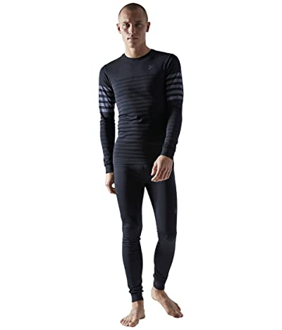 Craft Fuseknit Comfort Blocked Round Neck Long Sleeve (Black/Asphalt) Men