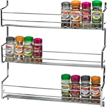 CKB Ltd 3-Tier Spice Rack Metal Wall mounted - Holds 30 Jars - Chrome TRIPLE Shelf Wall Cupboard Door Mounted Storage Stand Kitchen Cooking Universal Organizer 45 x 7 x 46cm